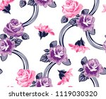 roses pattern with connection... | Shutterstock .eps vector #1119030320