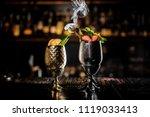 two metal glasses of fresh... | Shutterstock . vector #1119033413