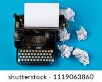 vintage typewriter top down... | Shutterstock . vector #1119063860