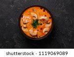 spicy thai soup tom yam with... | Shutterstock . vector #1119069089