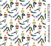 yoga positions mans characters... | Shutterstock .eps vector #1119087728