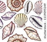 hand drawn nautical seamless... | Shutterstock .eps vector #1119095249