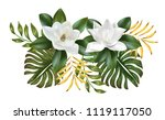 magnolia flower with leaves on...   Shutterstock .eps vector #1119117050