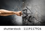 hand breaking through the wall. ... | Shutterstock . vector #1119117926