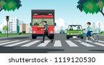 people walking on a crosswalk... | Shutterstock .eps vector #1119120530