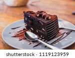 close up piece of chocolate... | Shutterstock . vector #1119123959