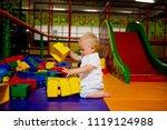 little toddler child  boy... | Shutterstock . vector #1119124988