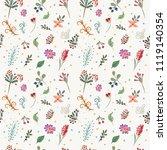 vector floral pattern in doodle ...   Shutterstock .eps vector #1119140354