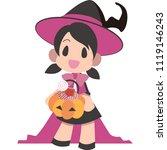 girls to dress up for halloween ... | Shutterstock .eps vector #1119146243