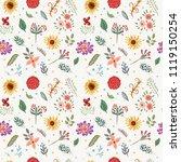 vector floral pattern in doodle ...   Shutterstock .eps vector #1119150254