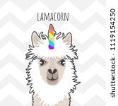 cute lama with a unicorn horn... | Shutterstock .eps vector #1119154250