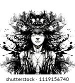 girl in ritual vestments | Shutterstock . vector #1119156740