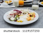 breakfast food on white dish    Shutterstock . vector #1119157253