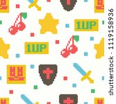 cute 8 bit game seamless... | Shutterstock .eps vector #1119158936