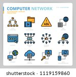 computer network icon set | Shutterstock .eps vector #1119159860