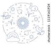 rainbow  cloud  chicken  rabbit ...   Shutterstock .eps vector #1119161924
