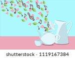 musical notes  flower petals...   Shutterstock .eps vector #1119167384