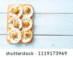 grilled scallops shell with... | Shutterstock . vector #1119173969