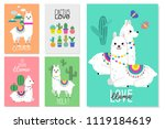 cute llamas  alpacas and cactus ... | Shutterstock .eps vector #1119184619
