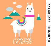 cute llama and alpaca... | Shutterstock .eps vector #1119185513