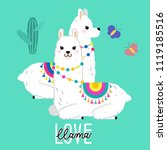 cute llama and alpaca... | Shutterstock .eps vector #1119185516