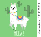 cute llama and alpaca... | Shutterstock .eps vector #1119185519