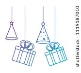 gifts boxes and hats party... | Shutterstock .eps vector #1119187010