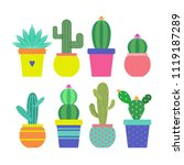 cactus icons in a flat styled.... | Shutterstock .eps vector #1119187289