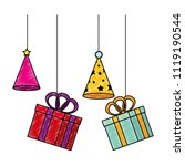 gifts boxes and hats party... | Shutterstock .eps vector #1119190544