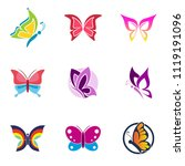 butterfly beauty salon logo... | Shutterstock .eps vector #1119191096