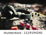 pro dj headphones on sound... | Shutterstock . vector #1119194240