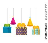 gifts boxes and hats party... | Shutterstock .eps vector #1119194444