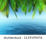3d render of palm tree leaves... | Shutterstock . vector #1119195476