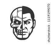 robot face. metallic cyborg head | Shutterstock .eps vector #1119199070