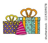 gifts boxes presents with hat... | Shutterstock .eps vector #1119209078