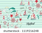 nautical background with ships... | Shutterstock .eps vector #1119216248