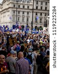 London, United Kingdom, 23rd June 2018:- The March for a People's Vote in Central London demanding a vote on the final deal on Britain's exit from the EU - stock photo