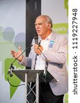 London, United Kingdom, 23rd June 2018:- Vince Cable MP Leader of the Liberal Democrats speaks at The March for a People's Vote in Central London  - stock photo
