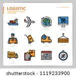 logistic icon set  | Shutterstock .eps vector #1119233900