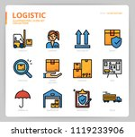 logistic icon set  | Shutterstock .eps vector #1119233906
