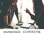 co worker is argueing with... | Shutterstock . vector #1119241736