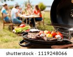 modern grill with meat and... | Shutterstock . vector #1119248066