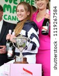 Small photo of Sophie Dods celebrates winning The Queen Mothers Cup at York Races : The Knavesmire, York Racecourse, Nth Yorkshire, UK : 16 June 2018 : Pic Mick Atkins