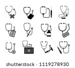 phonendoscope stethoscope icons ... | Shutterstock . vector #1119278930