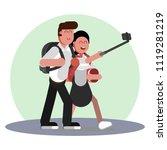 girl making selfie | Shutterstock .eps vector #1119281219