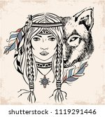 native american girl with wolf. ... | Shutterstock .eps vector #1119291446