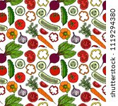 vegetable seamless pattern with ... | Shutterstock .eps vector #1119294380