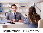 lawyer discussing legal case... | Shutterstock . vector #1119295799