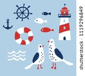set of nautical design elements ... | Shutterstock .eps vector #1119296849