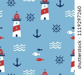 seamless pattern with nautical... | Shutterstock .eps vector #1119297260